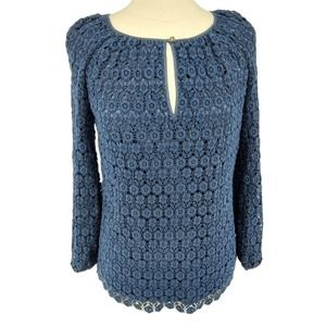 Tory Burch Womens Crochet Lace Blue Top Size 6